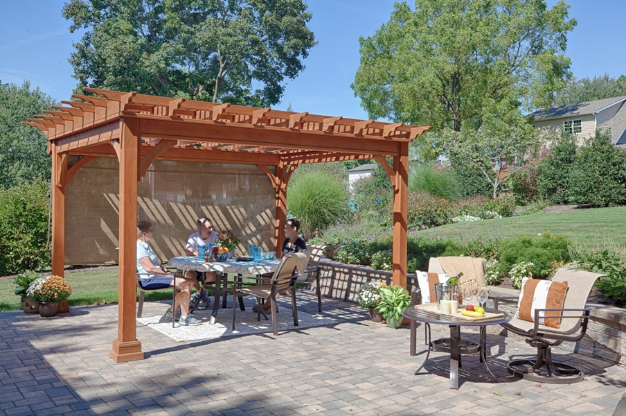 Pleasant Run Structures traditional wood pergola brings beauty and pleasant shade to your family