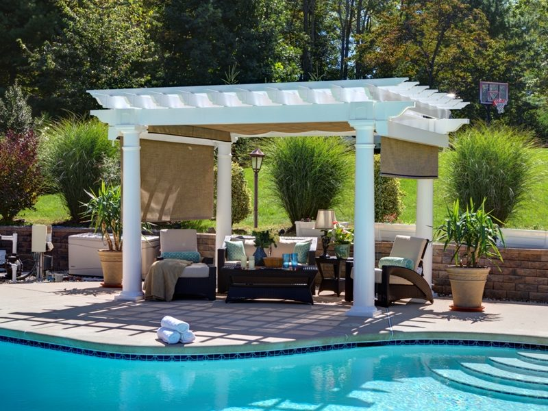 Pleasant Run Artisan-White-Vinyl-Pergola-10in-Round-Column-Post-EZ-Shade-Canopy