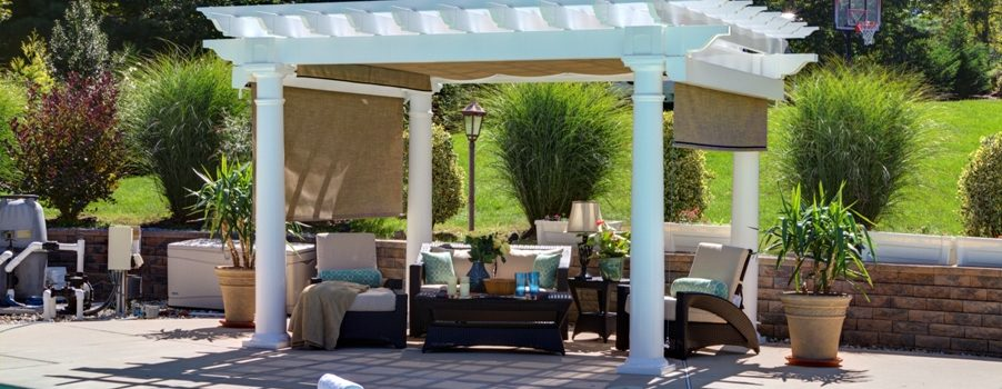 Pleasant Run Artisan White Vinyl Pergola 10in Round Column Post EZ Shade Canopy